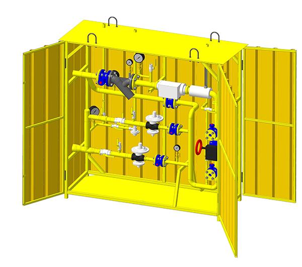 ПГШМ с регуляторами Itron 3212 и встроенным пунктом учета газа на базе счетчика «Курс-01» Ду50